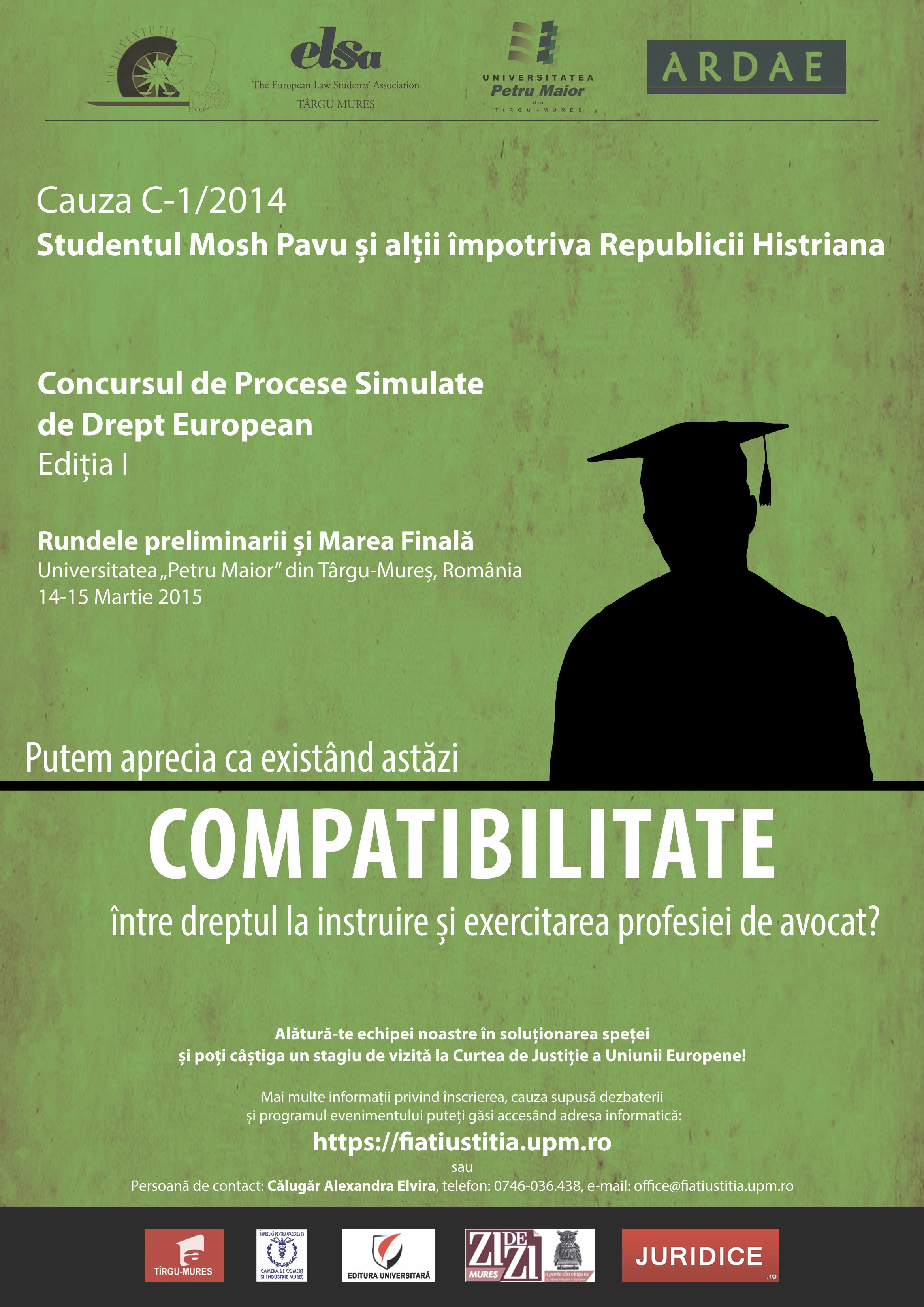 Fiat Iustitia Concurs de pledoarii dreptul Uniunii Europene – Tirgu Mures, 2015